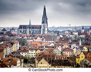 Cathedral Regensburg - Town Regensburg Germany with...
