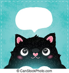 card with cute fat cat. vector illustration