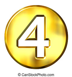 3D Golden Framed Number 4 - 3d golden framed number 4...