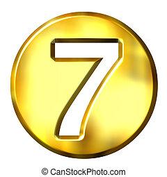 3D Godlen Framed Number 7