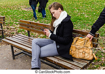Pickpocket Stealing Bag While Woman Using Phone On Park...