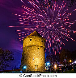 New Year's fireworks near Kiek in de Kok tower in Tallinn,...
