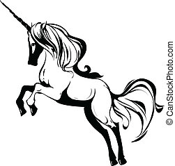 Unicorn - Rearing Unicorn black & white, vector