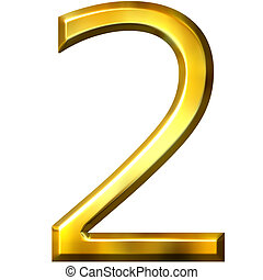 3d golden number 2 isolated in white