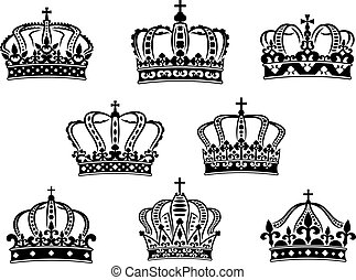 Collection of heraldic royal crowns
