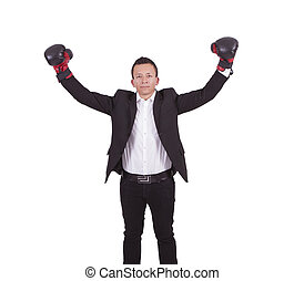 Young businessman with boxing glove