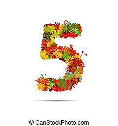 Number from autumn colorful leaves 5