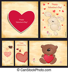 Set of romantic greeting cards Happy Valentine's Day