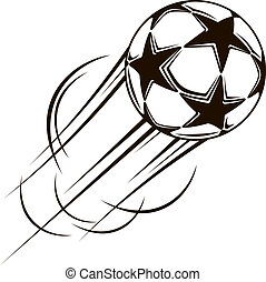 Soccer ball with stars flying through the air at speed...