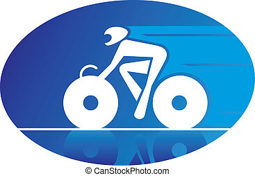 Blue icon of a racing cyclist