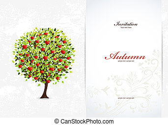 Festive invitation card with abstract tree