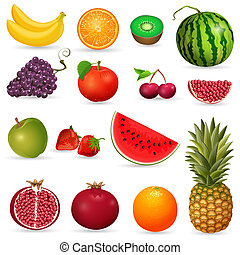 sätta, saftig, frukt, isolerat