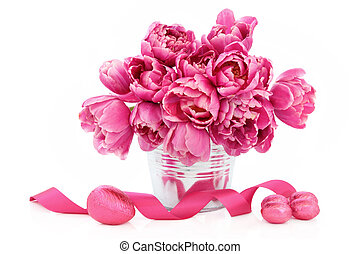 Easter Flower Beauty - Easter eggs with pink tulip flower...