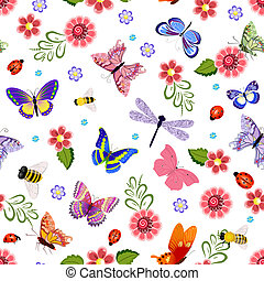 Cute seamless texture with flying insects