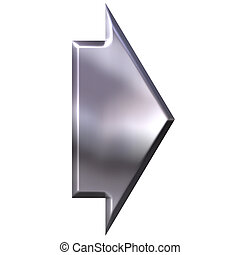 3D Silver Arrow - 3d silver arrow isolated in white