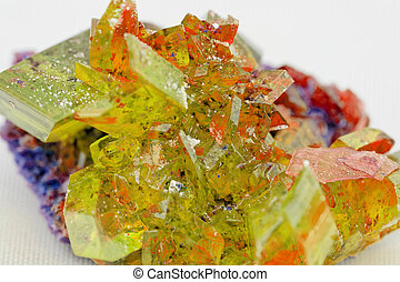 crystal macro photo in topaz color - Close up picture about...
