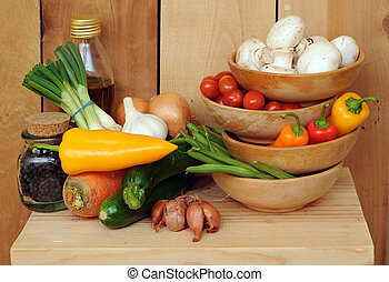 vegetable stir fry - fresh healthy ingredients for vegetable...