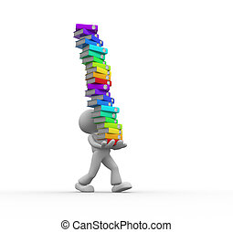 Folders - 3d people - man, person carrying a stack of...