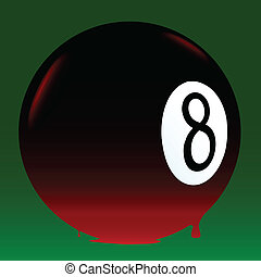 Bleeding 8 Ball - The eight ball from a pool set on a green...