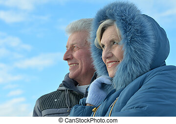 Senior couple in winter - Happy senior couple walking in...