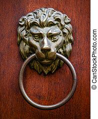 Lion door knocker on wooden door