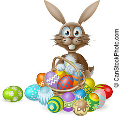 Easter bunny with eggs basket - An Easter bunny rabbit with...