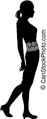 Woman profile silhouette - A fashion illustration of a woman...