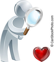 Heart magnifying glass man - A person holding a magnifying...