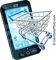 Shopping cart mobile phone - Mobile phone with shopping cart...