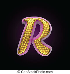 vector golden and pink letter r