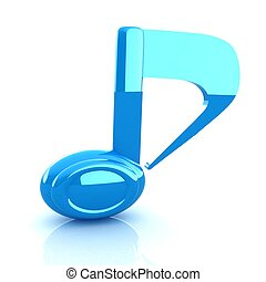 musical note 3D on white background