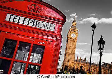 Red telephone booth and Big Ben in London, England, the UK...