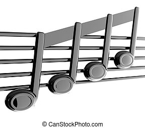 3D music note on stave on a white