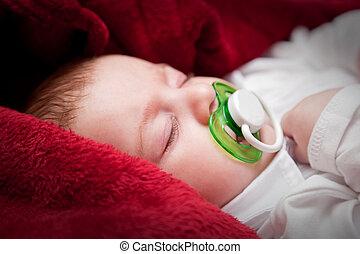可愛, 3, 月, 嬰孩, 睡覺, 床, 蓋, 紅色, 毛毯