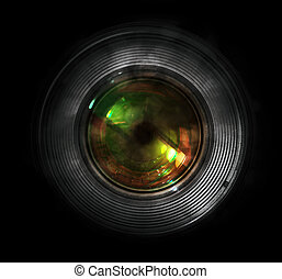 DSLR camera lens, front view, black background