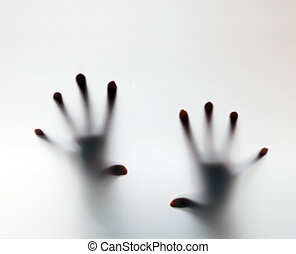 Hands touching frosted glass Conceptual scream for help,...