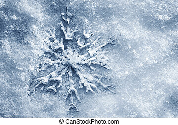 Winter, Christmas background. Snowflake on snow - Winter,...