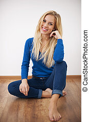 Portrait of smiling blonde woman