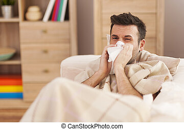 hombre, Soplar, el suyo, nariz, mientras, acostado, enfermo,...