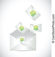 envelope full of emails illustration design over a white...