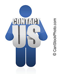 icon holding a contact us sign