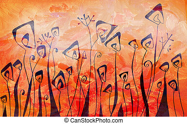 Print - Floral border graphic banner in orange colors