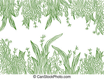 Grass banner artistic illustration with borders