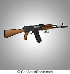 Kalashnikov AK-74 on white background