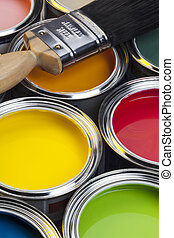 Painting and Decorating - Tins of paint and paintbrush