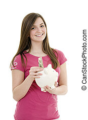 Teenager - Caucasian teenager holding a piggy bank on white...