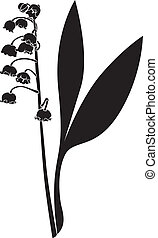 Silhouette lily of the valley flower - Silhouette image...