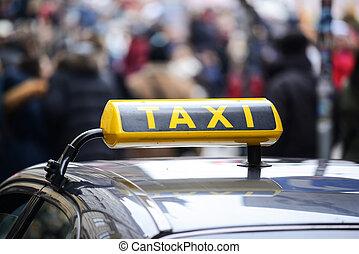 táxi, car, cidade, centro, aglomerado, pedestres