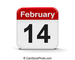 14th February - Calendar web button - The fourteenth of...