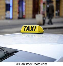 táxi, sinal, car